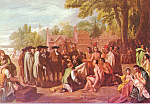 Click here to enlarge image and see more about item cs4104: Penn s Treaty With The Indians Benjamin West Postcard cs4104