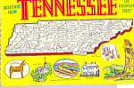 Map of Tennessee Postcard cs4657