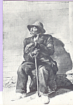 Click here to enlarge image and see more about item cs4678: Seated Old Man with Cane Postcard cs4678