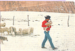 Click here to enlarge image and see more about item cs4743: Rancher with Lamb Postcard cs4743