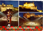 Bagpiper Castle View in Edinburgh Scotland Postcard cs5717