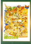Click here to enlarge image and see more about item cs6011: State Map of Arzona Postcard cs6011