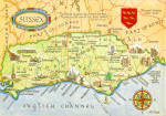 Map of Suffix England Postcard
