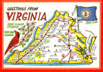State Map of Virginia Postcard cs6952