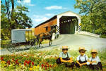 Covered Bridge and Amish Family Carriage Postcard cs6969
