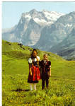 Click here to enlarge image and see more about item cs7093: Children in Native Costumes Swiss Alps cs7093