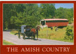 Covered Bridge and Amish Buggy in PA Postcard cs7144