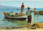 Fishing Boats Men Working with Nets Greece cs7188
