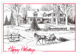 Click here to enlarge image and see more about item cs7446: Horse Drawn Sleigh bringing in the  Tree Postcard cs7446