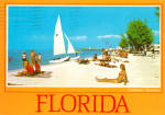 Click here to enlarge image and see more about item cs7666: Sail Boat and Beach Scene in  Florida cs7666