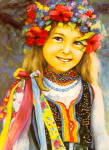 Click here to enlarge image and see more about item cs7713: Young Girl in Poland Native Dress cs7713