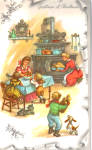 Chirstmas Postcard with Homey Kitchen Scene