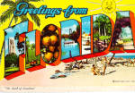 Click here to enlarge image and see more about item cs7862: Big Letter Greetings from Florida