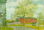 Kissing Bridge Covered Bridge from a Watercolor by Jay McVey cs7910