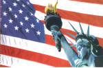 Statute of Liberty on a US Flag Background Postcard cs7916