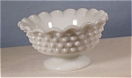 Click here to enlarge image and see more about item d0881: Hobnail Footed Milk Glass Compote