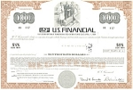 Click here to enlarge image and see more about item d1832: US Financial, Debenture Certificate 1971