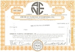 Click here to enlarge image and see more about item d1840: American National Enterprises Stock Certificate 1971 d1840