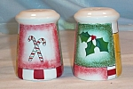 Click here to enlarge image and see more about item d2577: Pfaltzgraff Holiday Magic Salt and Peppers