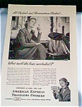 Click here to enlarge image and see more about item dec0413: American Express Traveler Checks Ad  1940s