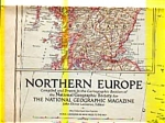 Click here to enlarge image and see more about item feb2956: Northern Europe Map 1954