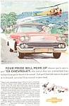 Click here to enlarge image and see more about item jan1296: 1958 Chevrolet Bel Air Coupe Ad