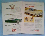Click here to enlarge image and see more about item jan1412: 1954 Ford Ads