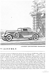 Click here to enlarge image and see more about item jan1988: 1934 Lincoln  LeBaron Convertible Roadster Ad jan1988