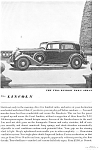 1934 Lincoln Two Window Town Sedan Ad jan1992