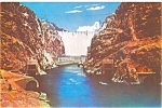 Click here to enlarge image and see more about item lp0014: Hoover Dam from Downstream Postcard lp0014