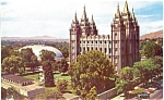 Mormon Tabernacle Temple and Temple Square Postcard lp0027