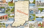 Click here to enlarge image and see more about item n0189: Indiana Map Multiview Postcard