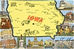 Click here to enlarge image and see more about item n0191: Iowa Map Multivew Postcard