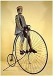 Click here to enlarge image and see more about item n0436: Man on a Bicycle Folk Art Postcard