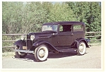 Click here to enlarge image and see more about item n0458: 1932 V-8 Ford Tudor Sedan Postcard n0458