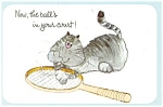 Cat With Tennis Racquet Postcard