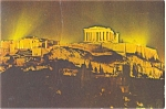 Click here to enlarge image and see more about item n0575: Athens Greece The Acropolis at Night Postcard n0575