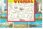 Wyoming State Map Postcard n0787