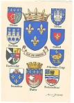 Coats of Arms of French Provinces Postcard
