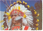 Click here to enlarge image and see more about item n0825: Indian Chief with Colorful Bonnet Postcard