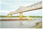 Click here to enlarge image and see more about item n0855: Greenville MS Bridge and River Barge Postcard n0855