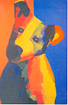 Painting of a  Dog Postcard