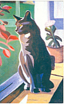 Click here to enlarge image and see more about item n1092: Painting of a  Cat Postcard