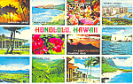Honolulu Hawaii Twelve Views Postcard n1217