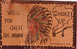 Click here to enlarge image and see more about item n1251: Indian Chief Leather Postcard