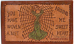 Click here to enlarge image and see more about item n1252: Girl in a Net  Leather Postcard