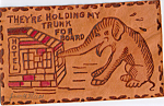 Click here to enlarge image and see more about item n1253: Elephant With Trunk in Window Leather Postcard n1253