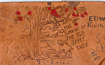 Click here to enlarge image and see more about item n1254: Boy in Old Apple Tree Leather Postcard n1254