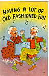 Click here to enlarge image and see more about item n1270: Dancing Elderly Couple Postcard n1270