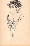 Sketch of a Lady with Flowers in her hair Postcard n1307